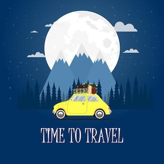 Путешествие на машине. дорожное путешествие. время путешествовать, туризм, летний отдых. плоский дизайн иллюстрация