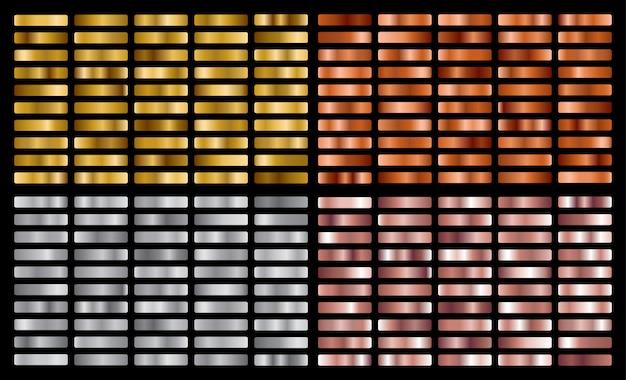 ゴールド、シルバー、ピンク、ブロンズメタルグラデーションコレクションとゴールド箔のテクスチャセット。