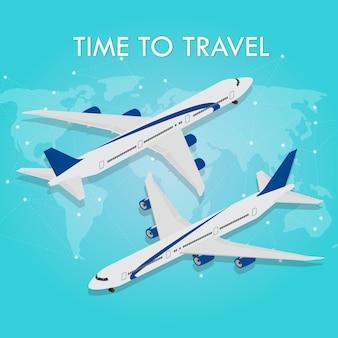 ベクトル等尺性インフォグラフィック要素旅客飛行機。