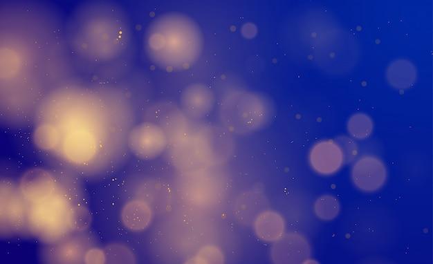 ボケライト効果、ブルー、シルバー、ゴールドのキラキラと抽象的な魔法の背景