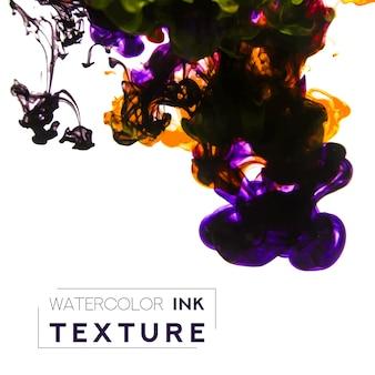 水彩インクの質感紫とイエローの液体