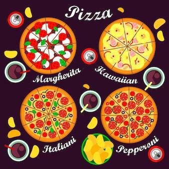 ピザ各種のイタリアン、ハワイアン、マルガリータ、ペパロニピザなどのピザメニュー。