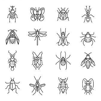 昆虫の細い線アイコン