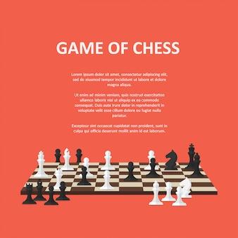 チェス盤上のチェスの駒とバナー