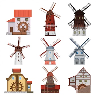 伝統的な風車と水車