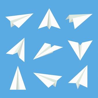 Бумажный самолетик векторный набор