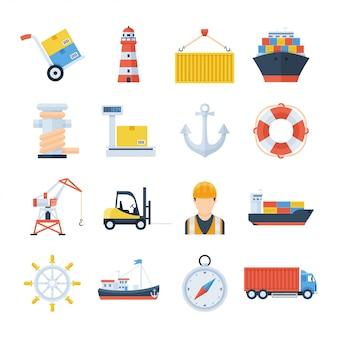 Морской порт набор векторных иконок в плоском стиле