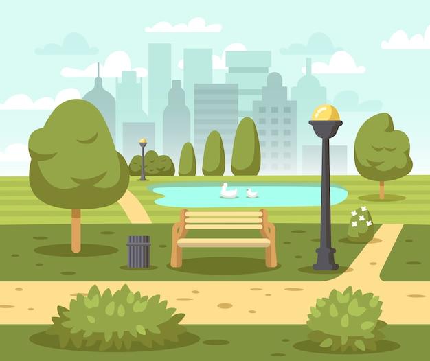 Летний городской парк иллюстрация