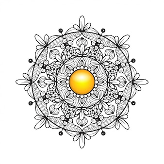 Раскраска мандала с цветочным