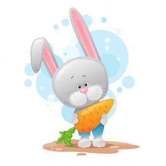Милый зайчик с морковкой