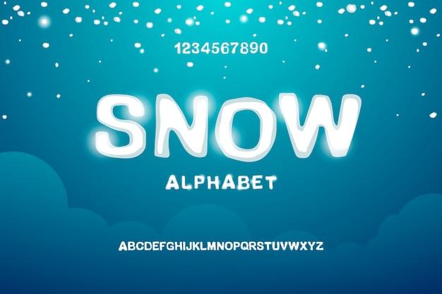 雪に覆われた英語のアルファベット