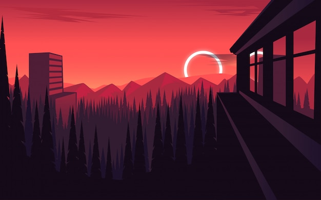 夕暮れの背景の森