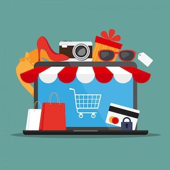 ラップトップ、ショッピング用品、クレジットカード
