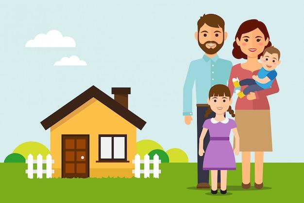 幸せな家族は新しい家に移動します