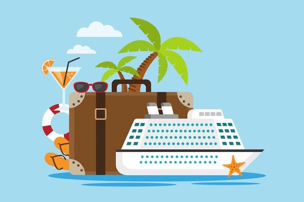 スーツケースと白いクルーズ船