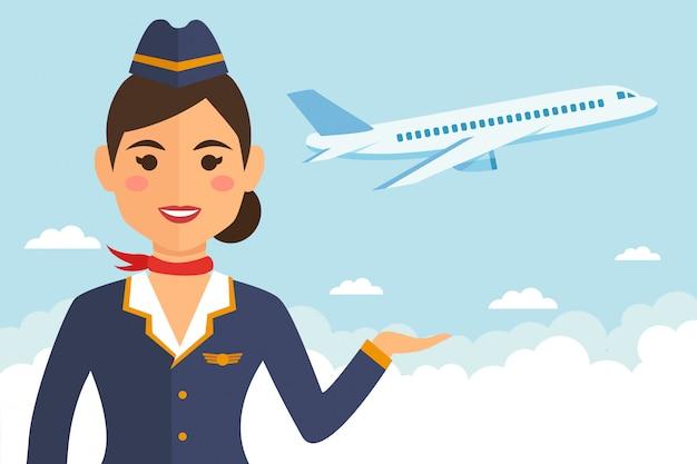 地球と飛行機の制服を着たスチュワーデス女性