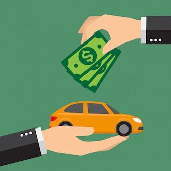Бизнесмен с деньгами, покупая машину