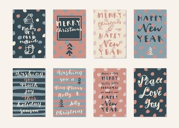 С рождеством и новым годом рисованные современные каллиграфические карты