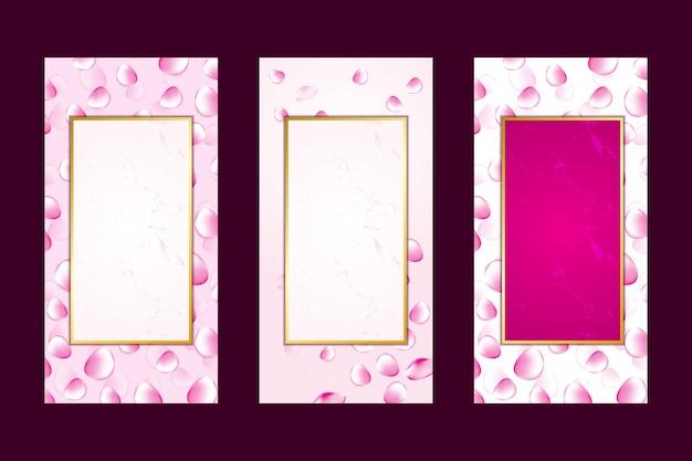 招待カード背景ピンクのバラの花びらの大理石