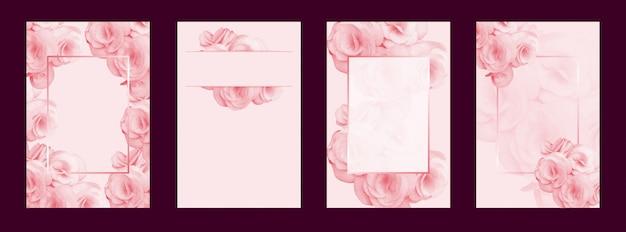 ウェディングカードの背景の花とフレームベクトル