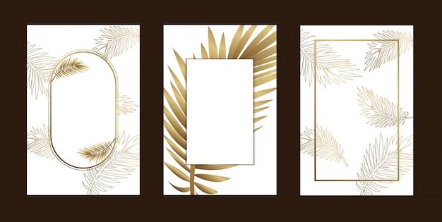 Пригласительные открытки элегантный контур листьев золотой белый