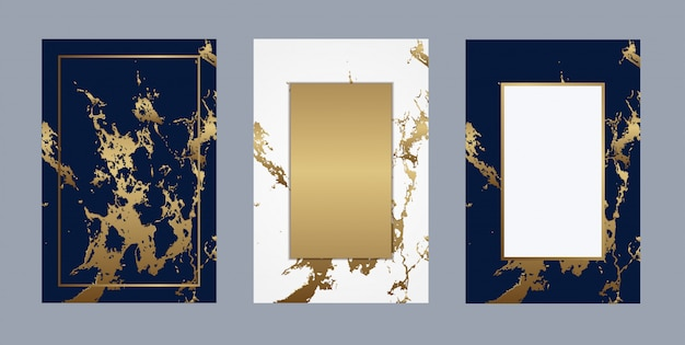 Свадебная открытка мрамор роскошный золотой фон вектор