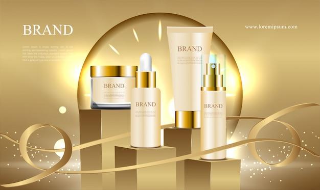 広告化粧品コレクションリボンの黄金の表彰台