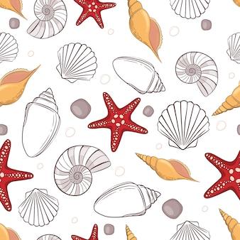 貝殻のパターンの背景