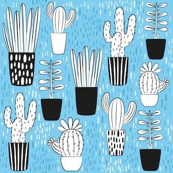 Коллекция дизайна кактусов