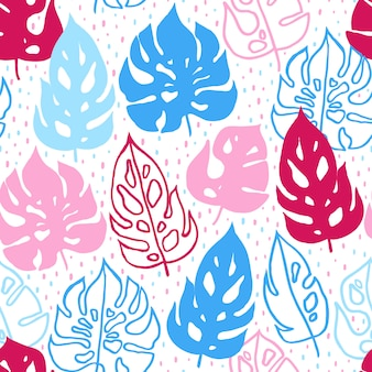 シームレスな手描きの熱帯のパターン。