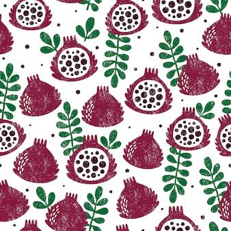 フルーツとシームレスなパターン