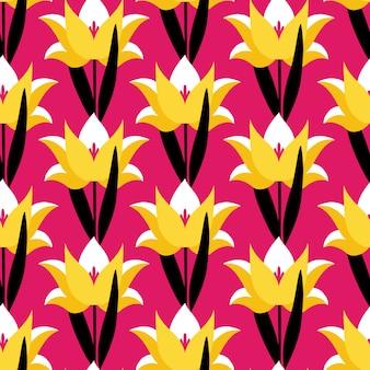 ピンクの背景のチューリップの花とのシームレスなパターン。