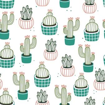植木鉢のシームレスなパターンの壁紙デザイン