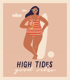 ビーチで分離ベクトル手描きの女性。デザインの面白いイラスト。