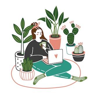 鍋で成長している植物を自宅でラップトップで床に座ってかわいい若い女性。仕事やリラックス。漫画のベクトル図です。