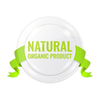 有機ラベル。新鮮な緑の自然製品のコンセプト。