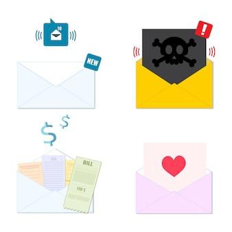 Коллекция конвертов иконки новой входящей электронной почты, спам, квитанция, поздравительная открытка. список рассылки, концепция службы электронной почты.