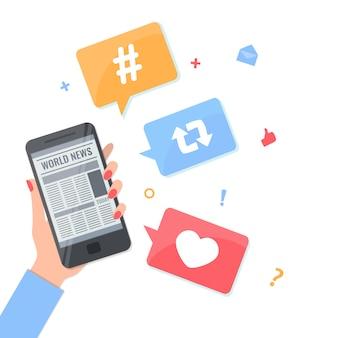 Женщина рука держать смартфон с онлайн-приложение новостей и хэштегом, как, репост символы в пузырьках.