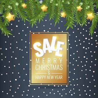 Рождественская распродажа зимний баннер со снегом и звездами.