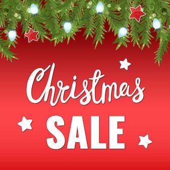 Рождественская распродажа зимний баннер со снегом, светлая гирлянда и рождественские надписи.