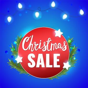Рождественская распродажа баннер с блестящими звездами, светлая гирлянда и рождественские надписи
