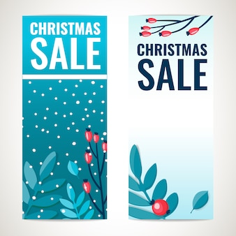 Рождественская распродажа вертикальный баннер дизайн шаблона с зимними ветками с ягодами, праздничное оформление