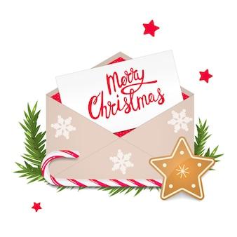 Рождественская поздравительная открытка в конвертах. праздничное украшение