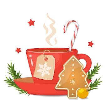 クリスマスツリーの形をした赤カップクッキー、ストライプのキャンディー杖、スノーフレークとクリスマスラベル。ベクトルイラスト。