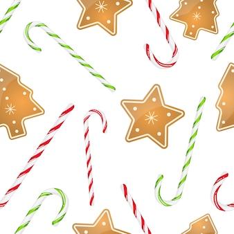 ストライプのキャンディー杖とクリスマスクッキーと休日のシームレスパターン