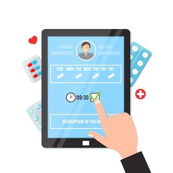 Приложения напоминания таблетки на планшетном компьютере.