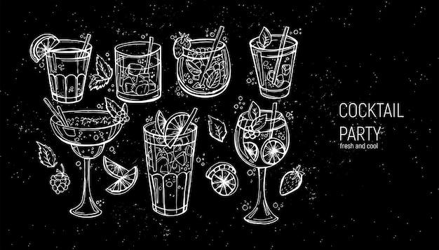 古典的なアルコールカクテルのセット。
