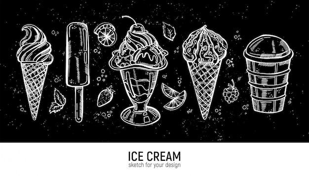 Набор ручной рисунок реалистичные мороженого. коллекция сладких пустынь.