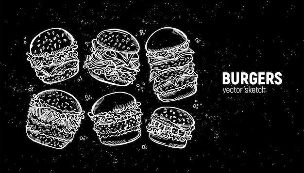 ハンバーガーのセット。ファーストフードのスケッチ