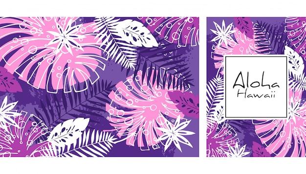 熱帯の葉のシームレスなパターン、手描きの水彩ベクトル図。モンステラとヤシの木のプリント。夏のデザイン。